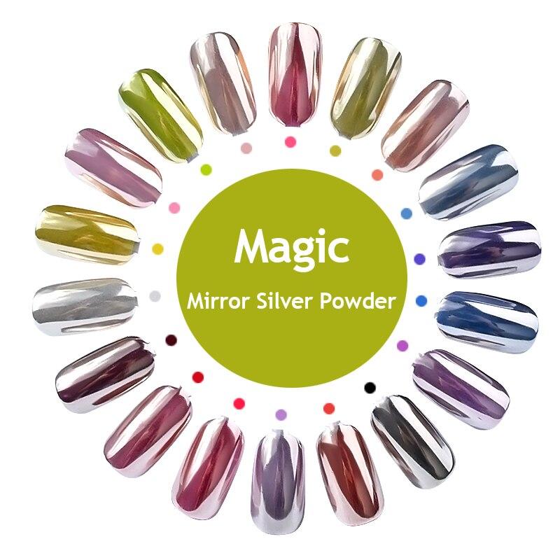 MANZILIN Magia Espelho Prego Glitter Powde Brilho Da Arte Do Prego de Prata Chrome Pigmento Pó Nail art Manicure UV Gel Ferramenta Polonês