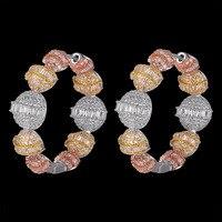 Zlxgirl Copper Wedding earrings jewelry Mirco Paved zircon spherical Shape Bridal Earrings Bucle d'oreille Ear Cuff