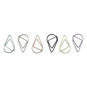 Image 1 - 6 couleurs Mini goutte de pluie forme métal Simple signets Photo dossier beaux signets trombone 600 pièces/ensemble