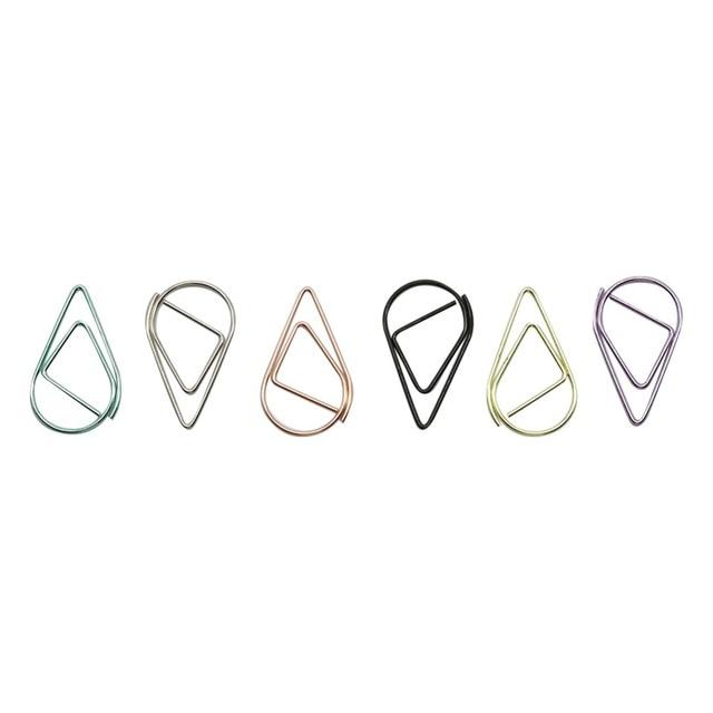 6 couleurs Mini goutte de pluie forme métal Simple signets Photo dossier beaux signets trombone 600 pièces/ensemble