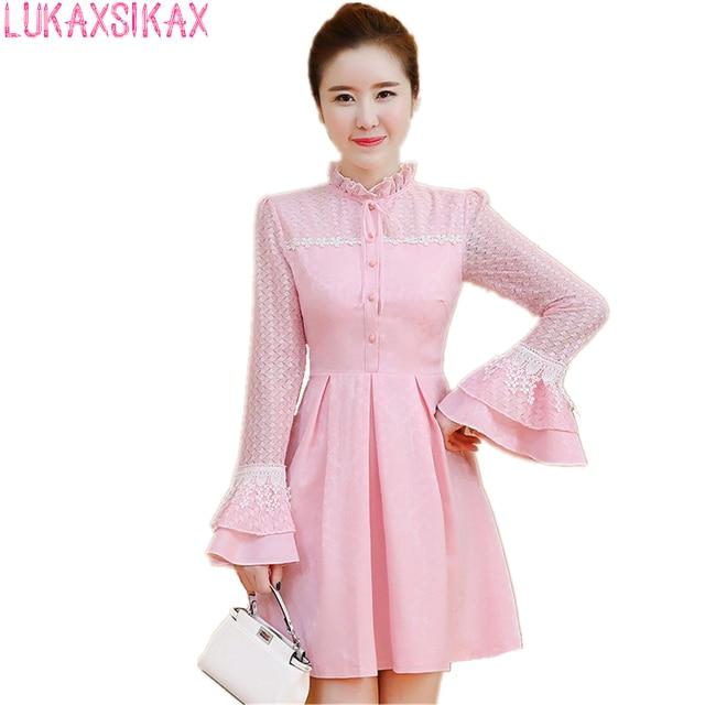 6ad4135c7b 2017 New Women Autumn Long Sleeve Dress Korean Fashion Slim A-Line Mini  Dress Stand Collar Speaker Sleeve Sweet Pink Lace Dress