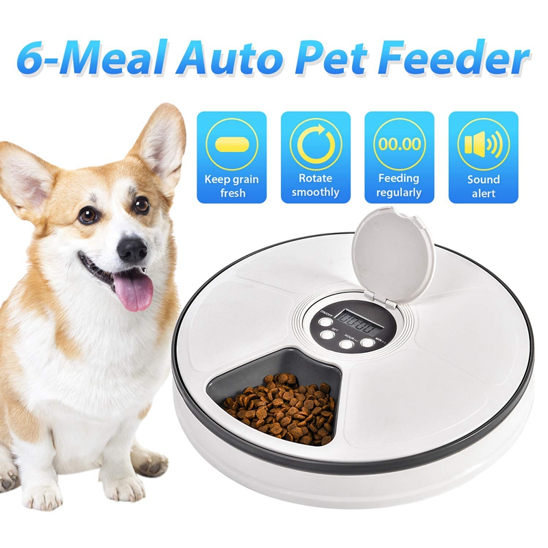 Automatic Pet Feeder Food Dispenser For Dogs, Cats & Small Animals - Features Distribution Alarms, Programmed Timed Self 6 Mea
