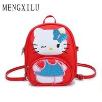 MENGXILU New Cartoon Hello Kitty Children School Bags Kids Travel Messenger Bag Cross Body Small Phone
