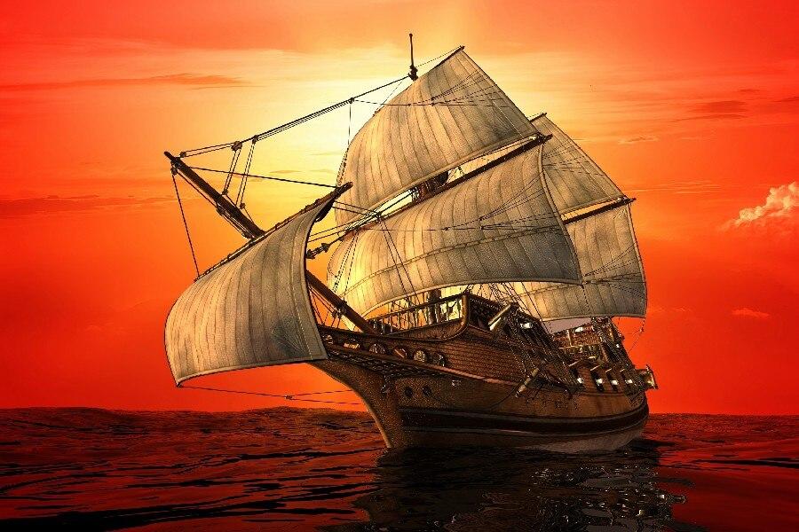 Diy Frame Ships Ship Boat Boats Watercraft Cloth Silk Art