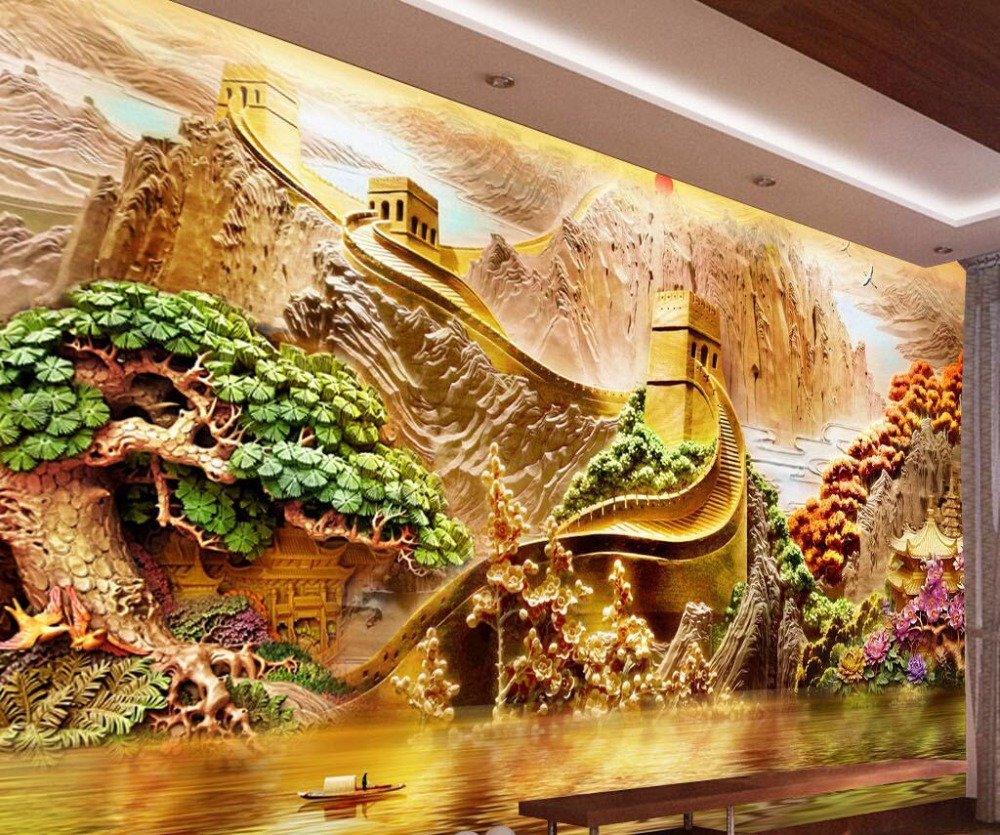 beibehang Home decoration wallpaper custom mural beautiful mountains and rivers 3D relie ...