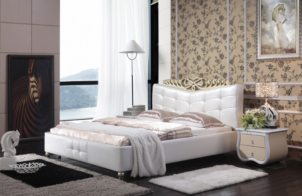 High Quality White Leather Bed-Buy Cheap White Leather Bed lots ...