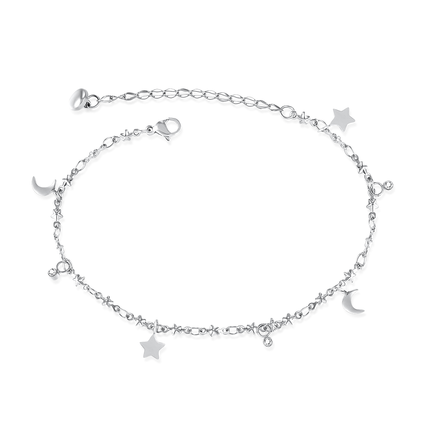 continue jewelry cubic pin silver anklet zirconia bling sterling charm anchor to