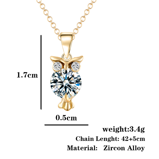 2019 New Zircon Pendants Owl Necklace For Women Crystal Heart Gold Sliver Color Long Necklaces Fashion Jewelry Christmas Gift 6