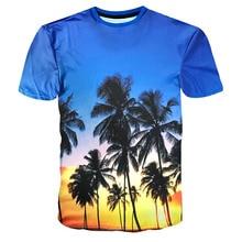 2017 neu Unisex Sommer Neuheit 3D T-shirts für Strand bluse Tropischen regen wald Palme Sky Printed Femme Hawaii T-shirts