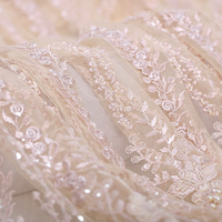 130CM Wide 280G/M Weight Paillette Beading Champagne Color Acrylic Polyester Lace Fabric for Spring Summer Autumn Dress DE636