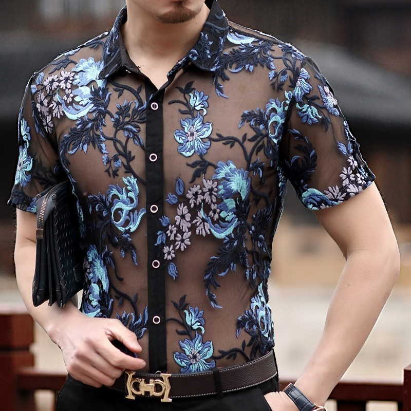 2018 New Sexy Lace Shirt For Male  Embroidery Men Transparent Shirt  See Through Mesh Shirt Club Party Prom Chemise Homme 3xl