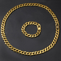 15mm wide 8inch 30inch Bling Gold Round Cuban Miami Necklaces Bracelets Set Men Hip Hop Link Chain Jewelry Drop Shhipping