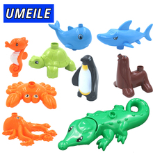 UMEILE Brand Marine Ocean Animal Series Big Particle Building Blocks Penguin/Crocodile Kids Baby Bath Toys Compatible with Duplo