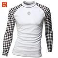 2016 New Street Camisetas Casual Hombres de Manga Larga T Shirt Slim Fit Camisas Con Estilo de Secado rápido Camisetas en Blanco y Negro