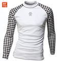 2016 New Street T-shirts Casual Men Long Sleeve T Shirt Quick Dry Slim Fit Shirts Stylish Camisetas Black & White