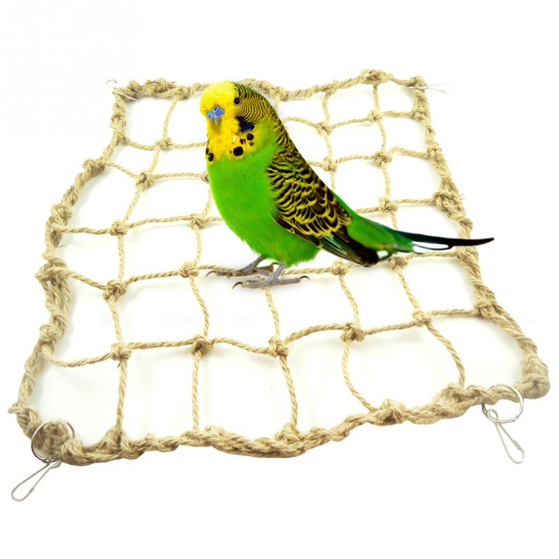 Pet Products Hearty Parrot Bird Cage Hammock Swing Toy Cockatiel Macaw Parrot Hemp Rope Climbing Net Toys Home & Garden