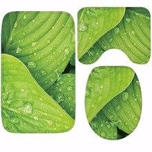 CAMMITEVER inodoro WC antideslizante alfombra creativa hojas verdes baño 3 uds Set alfombras 3D hoja hogar Hotel decoración suaves almohadillas