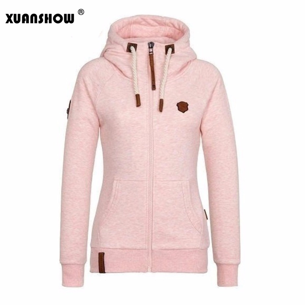 XUANSHOW 2017 Women Fashion New Hoodie Jacket Zip Collar Zipper Sweatshirts Long Sleeve Pullover Tracksuits xxxxl Hoodies