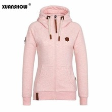 XUANSHOW 2018 font b Women b font Fashion New Hoodie Jacket Zip Collar Zipper Sweatshirts Long