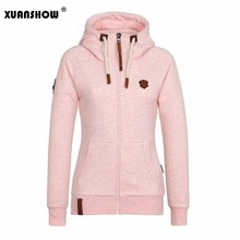 XUANSHOW 2018 Women Fashion New Hoodie Jacket Zip Collar Zipper Sweatshirts Long Sleeve Pullover Tracksuits xxxxl Hoodies