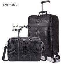8293f8571 CARRYLOVE/16/20/22/24 pulgadas tamaño equipaje de negocios de embarque  bolso + equipaje rodante Spinner viaje marca maleta