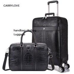 CARRYLOVE 16/20/22/24 pollice formato di business di imbarco dei bagagli della borsa + Trolley Spinner marca Valigia di Viaggio