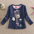 NOVA 100% Хлопок 2016 Новый Длинным Рукавом цветочные футболки Красиво вышитые девочка одежда футболки детская одежда F2101