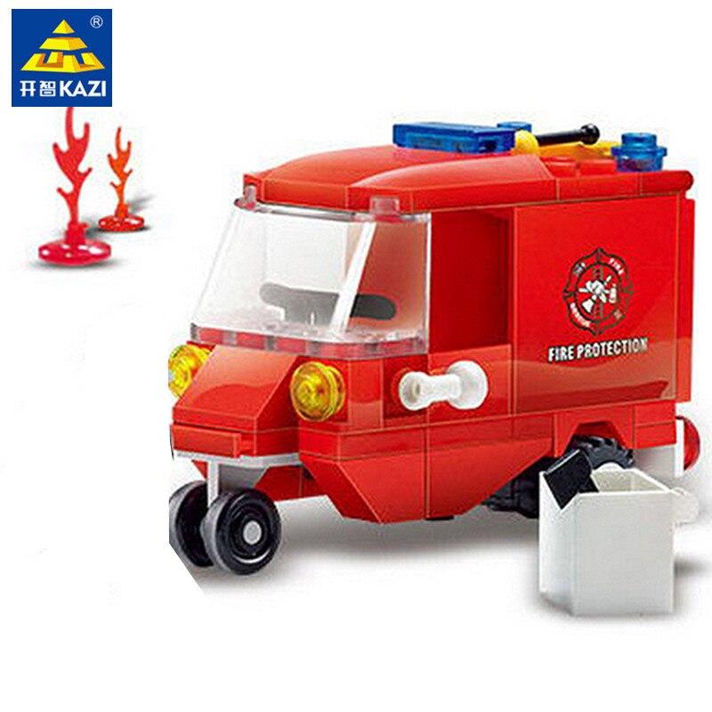 KAZI 71Pcs Fire Engine Protection Vehicle Model Building Blocks Brinquedos Educational Intelligence Bricks Toys for Children