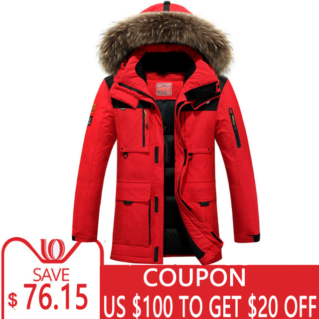 9255ca9e5b78 4XL Red Thick Winter Jacket Men White Duck Down Coat Male Long Parka Trench  Outerwear Hood Feather Fur Collar Warm Windbreaker