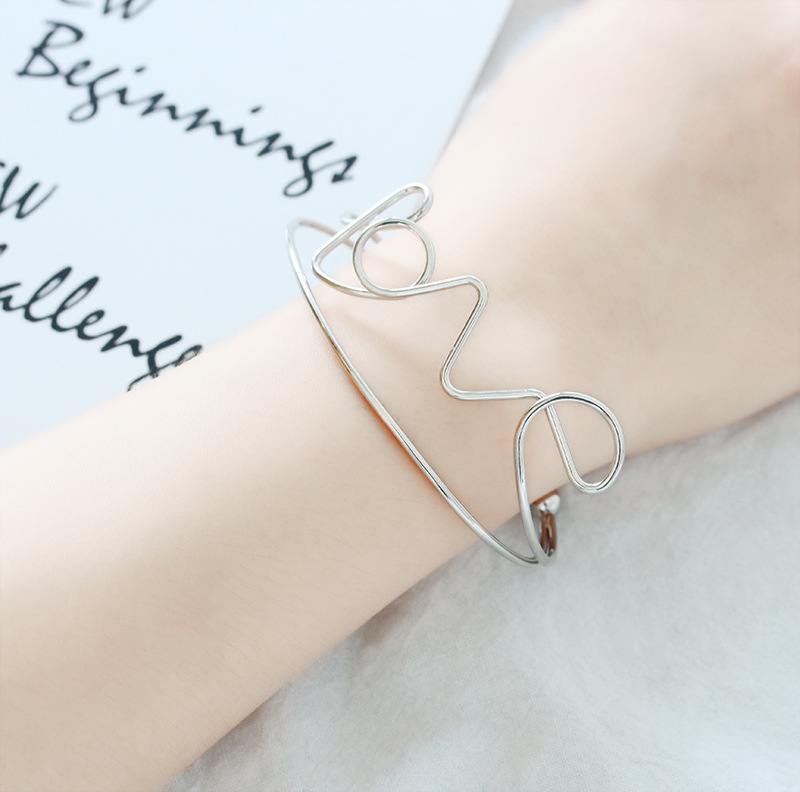 Handmade Word lOVE Double Metallic Bands Opening Golden Silver Bracelets & Bangles for Women