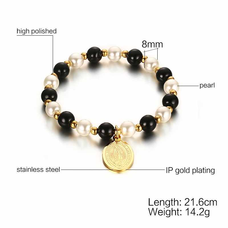 Classic Beads Hand Chain For Women Virgin Mary Bracelet Gold Color Female Jewelry