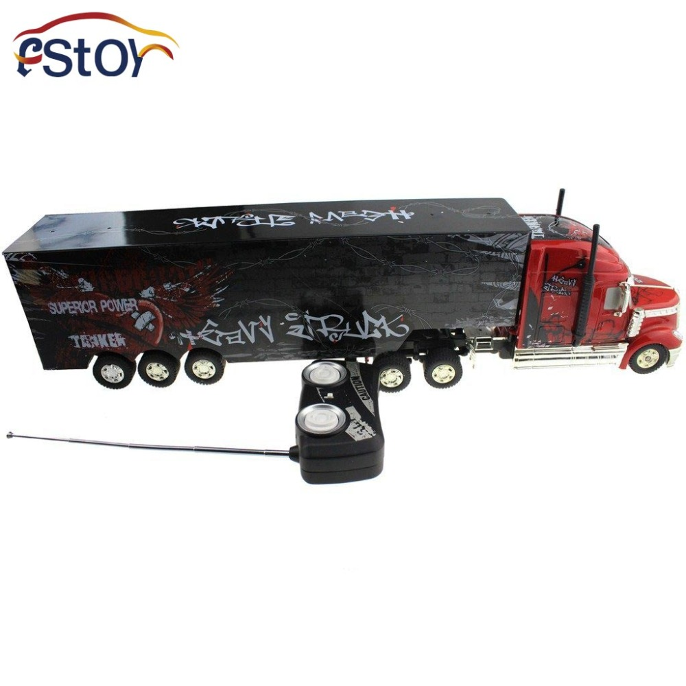 RC Car 6 Channel Long Hauler Vehicle 12 Rubber Tires Remote Control Container Tractor Truck with