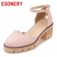 EGONERY Shoes Woman 2018 Women Casual Sandals Pointed Closed Toe 6 Cm Low Heel Genuine Leather