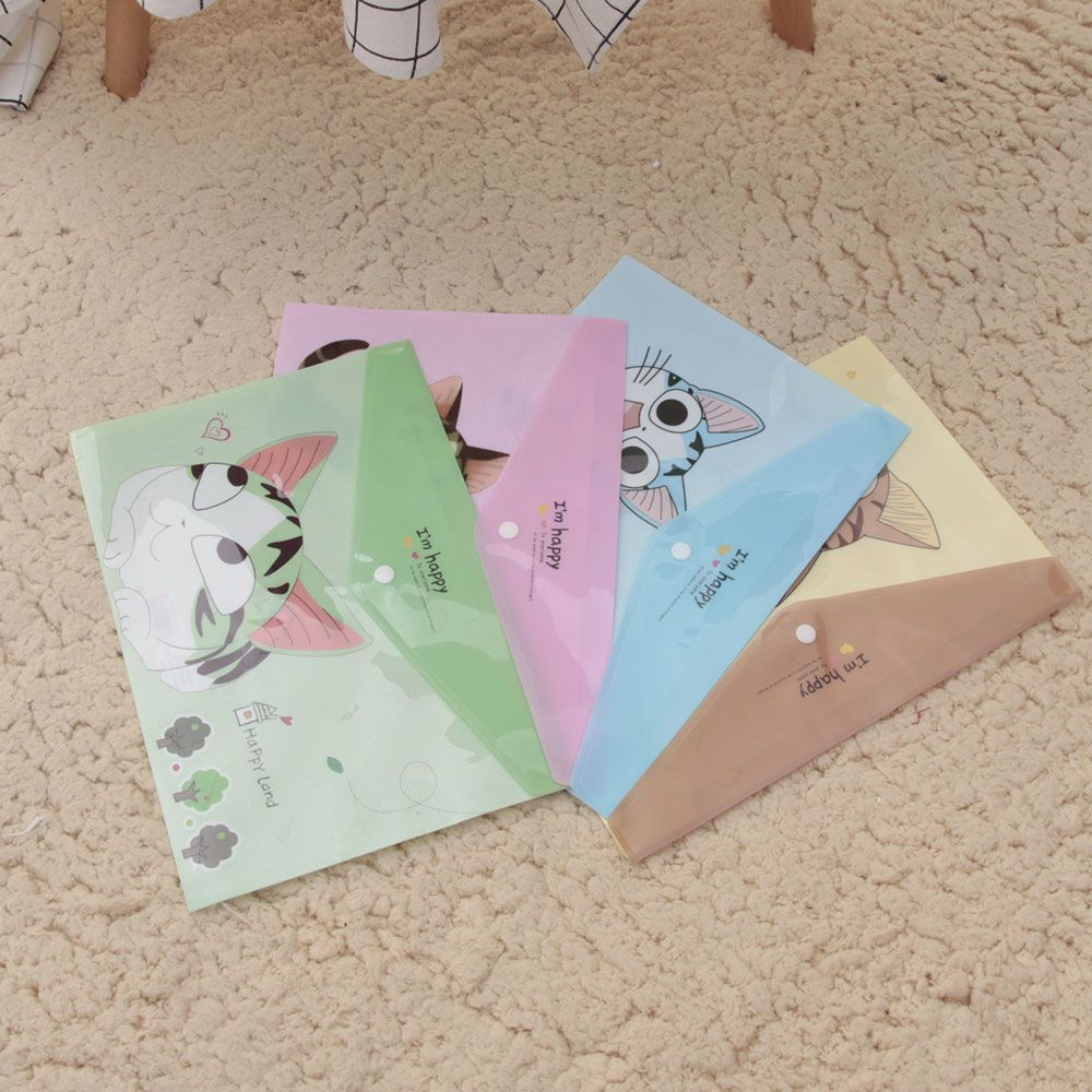 1 Pcs Cute Cheese Cat PVC A4 File Folder Document Filing Bag Stationery Bag School Office Supplies Transparent ...