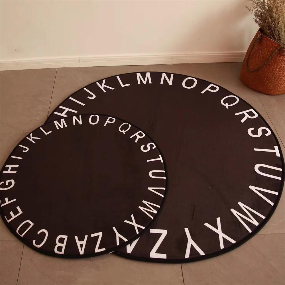 Black Letter Round Carpet Soft Kids Room Carpet Computer Chair Round Rug Children Tent Study Floor Mat Home Decor Cloakroom RugsBlack Letter Round Carpet Soft Kids Room Carpet Computer Chair Round Rug Children Tent Study Floor Mat Home Decor Cloakroom Rugs