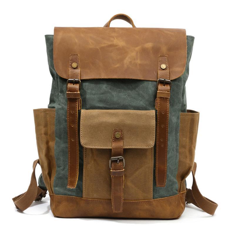 YUPINXUAN Oil Wax Canvas Cow Leather Backpacks Unisex Waterproof Rucksacks 15 Laptops Daypacks Large Capacity Vintage