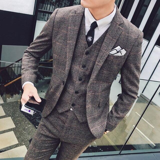 2019 New Men's Fashion Boutique Plaid Business Blazer Men  Suit Jacket / Men's Slim Wedding Dress Groom Suit Coat ( 1 Piece )