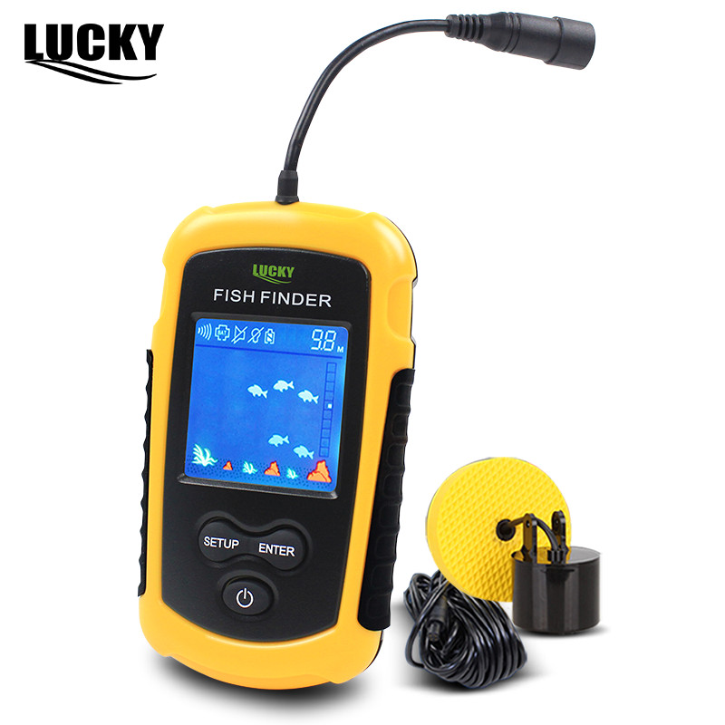 цена на Lucky Fish Finders Alarm 100M Portable Sonar Wired LCD Fish depth Finder Echo Sounder Electronic Fishing Tackle FFC1108-1#b5