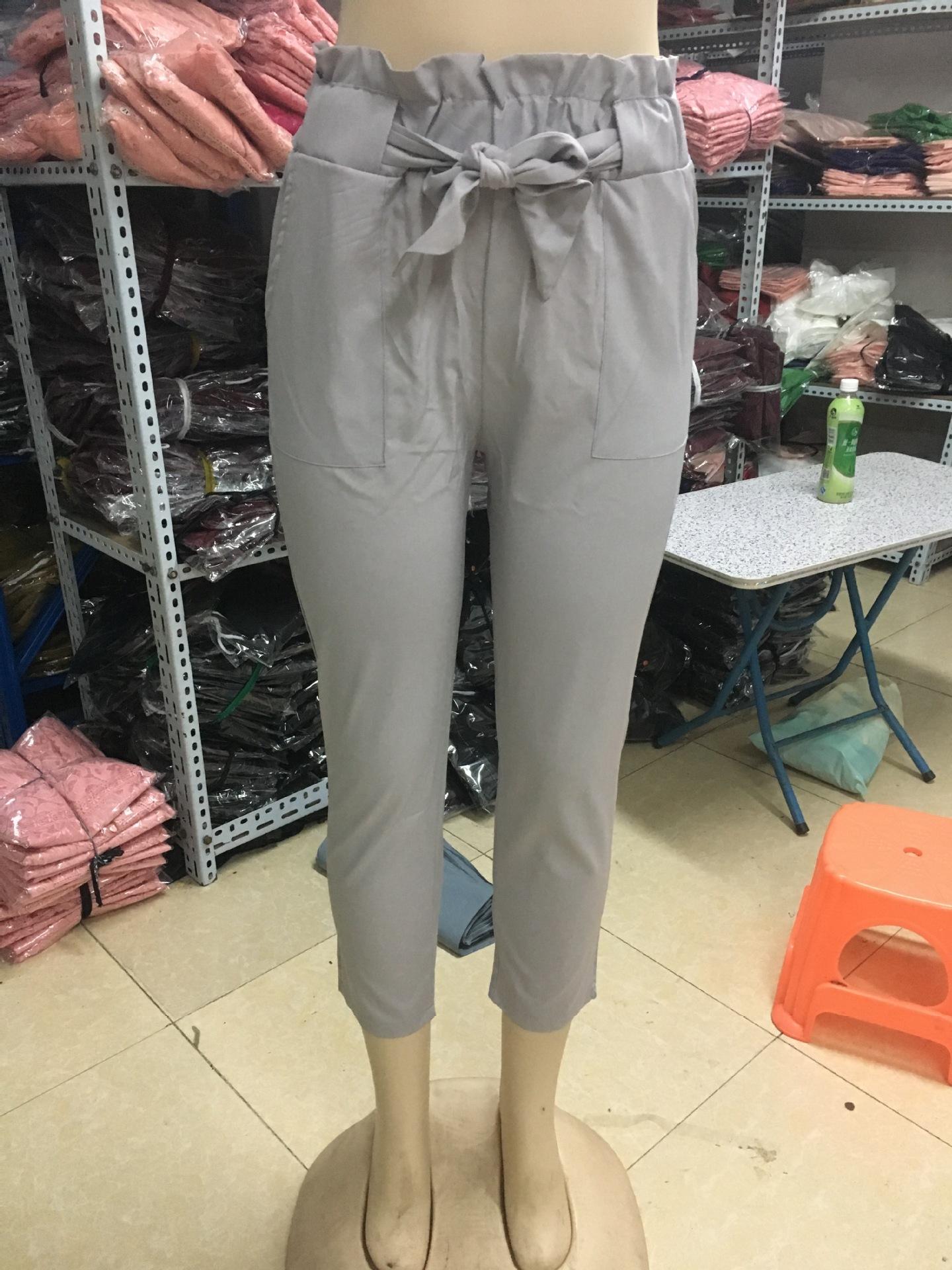 19 New Brand High Elastic Waist Harem Pants Women Spring Summer Fashion Ninth Pants Female Office Lady Black Trousers Belt 14