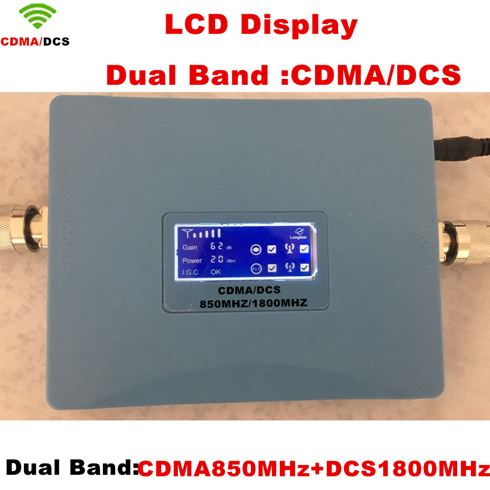 LCD Dual Band Repetidor CDMA 850 Mhz DCS 1800 Mhz Repeater Mobile/Cell/Cellular Phone Amplifier Signal Repeater Booster