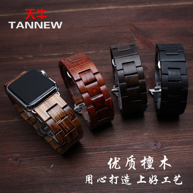 Nueva correa de reloj de madera de sándalo de alta calidad 22mm 24mm negro ajuste Apple reloj inteligente iwatch 1/2 /3 Serie 38mm 42mm
