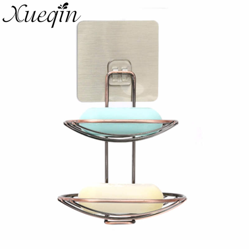Xueqin <font><b>Stainless</b></font> <font><b>Steel</b></font> <font><b>Double</b></font> Layer Home Storage Rack <font><b>Basket</b></font> Bathroom Shelves Soap Dish Holder Shower Tray <font><b>With</b></font> <font><b>Suction</b></font> <font><b>Cup</b></font>