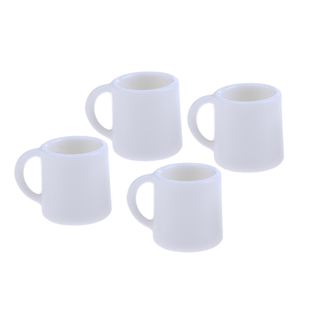 1:12 Scale 2 White Ceramic Tapered Mugs With Heart Motif Tumdee Dolls House H4