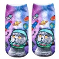 Модные летние белые носки Cool Space Cat модели забавные хлопковые трикотажные носки до лодыжки для Для мужчин/Для женщин/Детские носки с эмоджи стильный горячие - фото