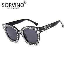 346e19ad89 Women Retro Cat Eye Sunglasses Brand Designer GLITTER Star Sunglass 90s  Bling Cateye Sun Glasses Blue Red White Big Shades SN204