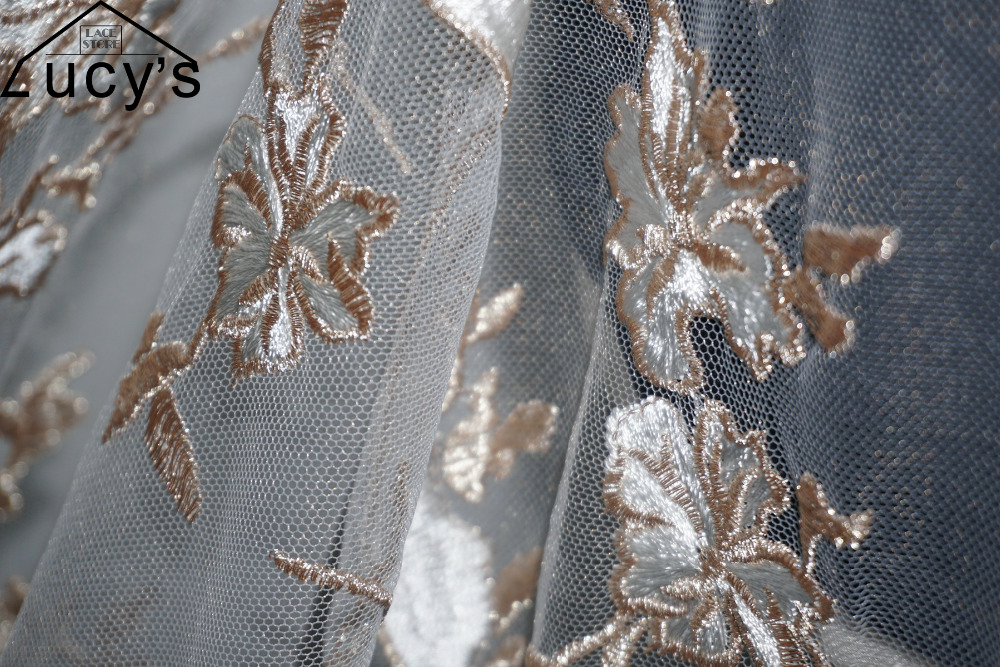 f33f09ceb4 Detail Feedback Questions about 1 Yard Ivory+gold color tulle mesh ...