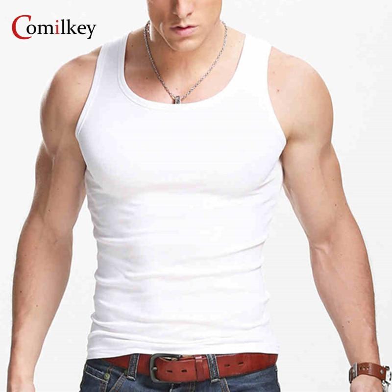 לבוש מקרית Gilet גברים O-Neck טנק חולצות קיץ זכר פיתוח גוף שרוול אפוד בגדי כושר גברים חולצה