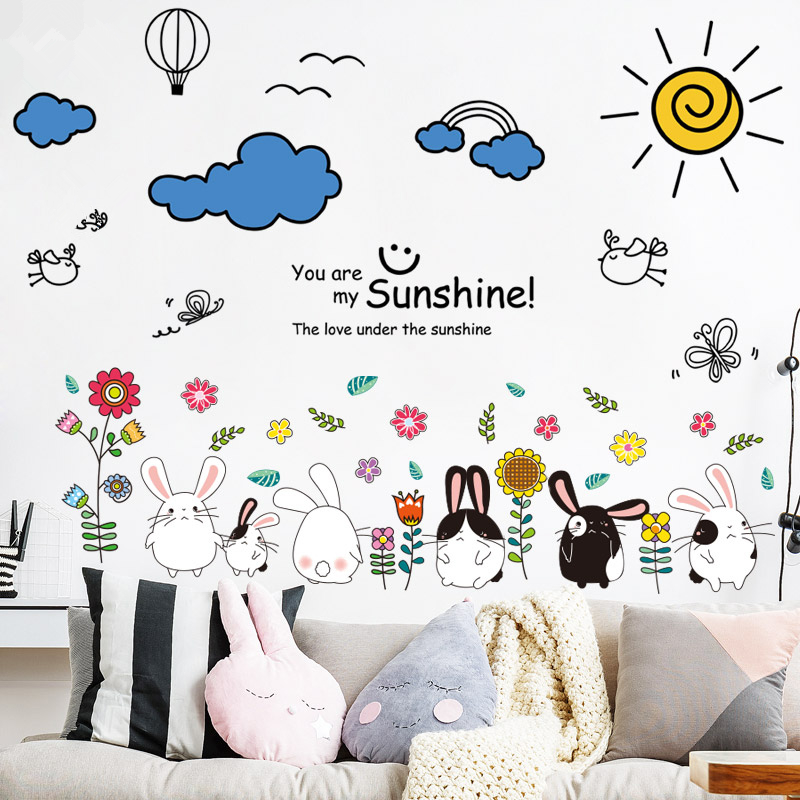 [SHIJUEHEZI] Cartoon Rabbits Flowers Wall Stickers Vinyl DIY Clouds Sun Wall Decals for Living Room Kids Room Decoration