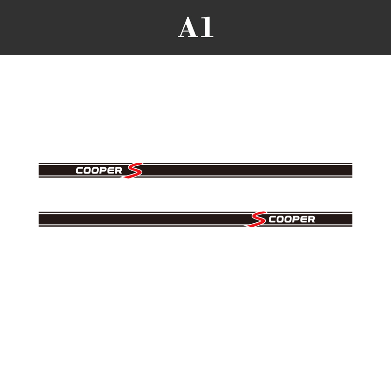 1 пара, 2 шт., виниловые автомобильные наклейки на боковые стороны юбки, автомобильные наклейки для BMW Mini Cooper S Countryman Seven Clubman John Paceman - Название цвета: A1