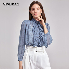 hot deal buy classic dot ruffle chiffon blouse women elegant bowknot office ladies work blouses shirts female top long sleeve spring new in